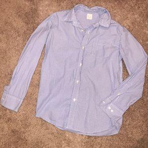 Boys J. Crew Crewcuts Blue White Striped Shirt